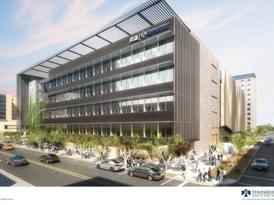 Arizona State University released this artist rendering of what the new building for the Thunderbird School of Global Management will look like in downtown Phoenix. The building will be constructed next to the law school just north of Polk Street between First and Second streets.
