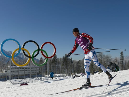 Armenian cross country athlete Sergey Mikayelyan trains at the Laura Cross Country Skiing and Biathlon Centre in Rosa Khutor, near Sochi, on February 5, 2014. The Sochi Olympic Winter Games 2014 will run from February 7 to 23.