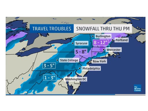 The Weather Channel's predicted totals from the winter storm. (Photo