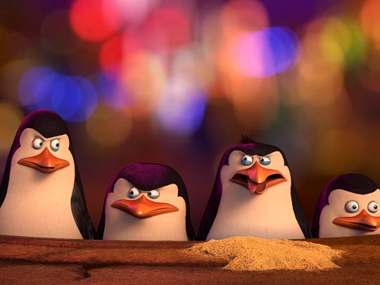 "Kowalski (voiced by Chris Miller) , Skipper (voiced by Tom McGrath), Rico, Private (voiced by Christpher Knights) in ""Penguins of Madagascar."""