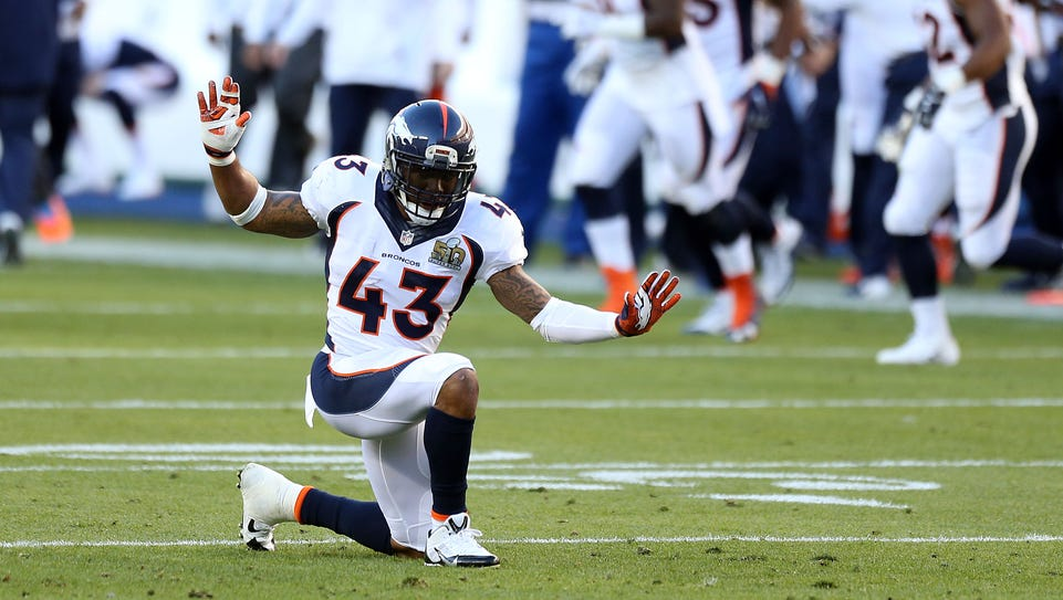 Denver Broncos safety T.J. Ward (43) reacts during