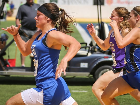 Eden's Dustee Hoelscher leads in the 100-meter dash during the Region II-1A Track Meet Saturday, April 28, 2018, at Angelo State.