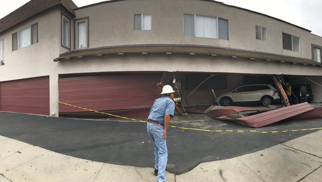 A car ran into an apartment building in Oxnard late Thursday morning. No injuries were reported.