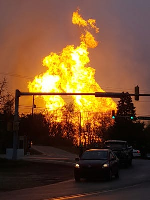 In this photo taken by Salem Township Supervisor Kerry Jobe, flames erupt during a natural gas explosion at a pipeline complex in Greensburg, Pa., April 29, 2016.