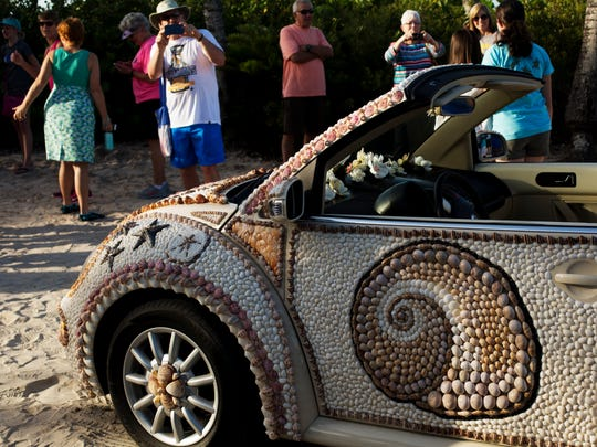 "The Shell Love Bug was unveiled on June 19, 2016, on National Seashell Day on Sanibel Island. The Lee County Visitor and Convention Bureau sponsored the event. Pam Rambo, along with volunteers, glued the shells to the car. Rambo claims the county promised to give her the car. Her company has sued Lee County in U.S. District Court. She also claims that by continuing to display the vehicle in public, the county has violated her copyright on the design. The News-Press tried to get access to the car to get photos of what it looks like in 2018 but was denied. In an email written by Lee County Spokeswoman Betsy Clayton: ""Per the County Attorney's Office, we are not able to accommodate your request. The car is covered and is not available for public or media inspection at this time since the design of the shells attached to the car is involved in a copyright lawsuit."""