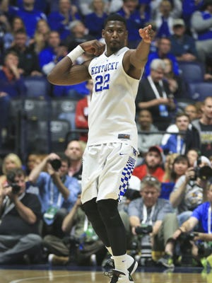Alex Poythress, shown firing off an arrow after hitting a Kentucky 3-pointer against Alabama in the SEC Tournament, has signed with the Indiana Pacers.