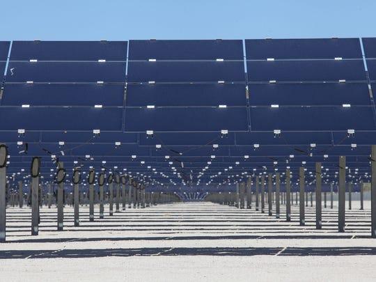 Solar panels soak up the sun at the 50-megawatt Seville solar farm at Allegretti Ranch, in western Imperial County off Highway 78.