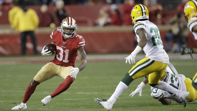 San Francisco 49ers running back Raheem Mostert (31) had a breakout game in last year's NFC championship game with 220 rushing yards in a win over Green Bay to reach the Super Bowl.
