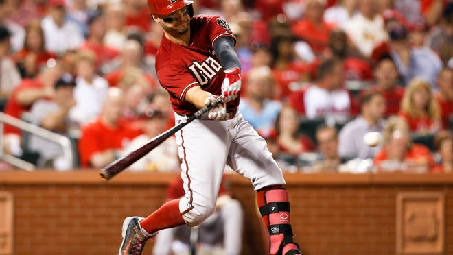 May 21, 2014 - Arizona Diamondbacks outfielder Cody Ross swings for a single during the seventh inning of a game against the St. Louis Cardinals in St. Louis.