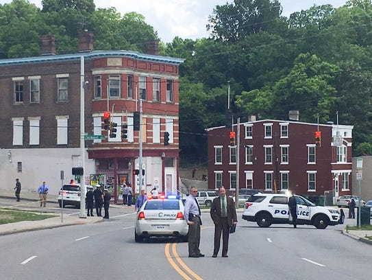 Harrison Avenue was blocked in both directions at Fairmount