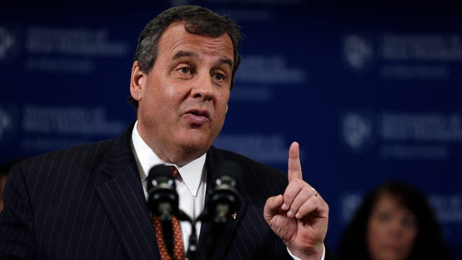 New Jersey Gov. Chris Christie, a likely Republican 2016 presidential candidate, gestures during an event at the University of New Hampshire in Manchester, N.H., Tuesday, May 12, 2015. (AP Photo/Charles Krupa)