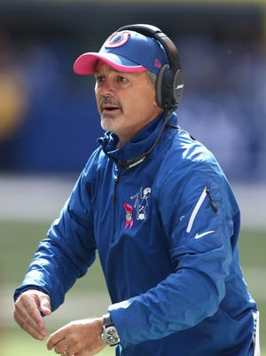 Indianapolis Colts coach Chuck Pagano coaches on the sidelines against the Cincinnati Bengals at Lucas Oil Stadium.