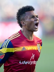Real Salt Lake defender Jordan Allen (7) reacts to scoring a goal during the second half against Toronto FC at Rio Tinto Stadium on March 29, 2015. Real Salt Lake won 2-1.
