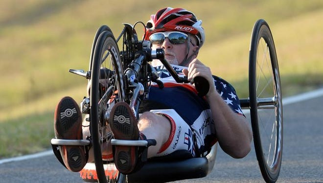 Scott Wells can be seen on the roads of south Shreveport as he trains for the 2016 Paralympics cycling event.