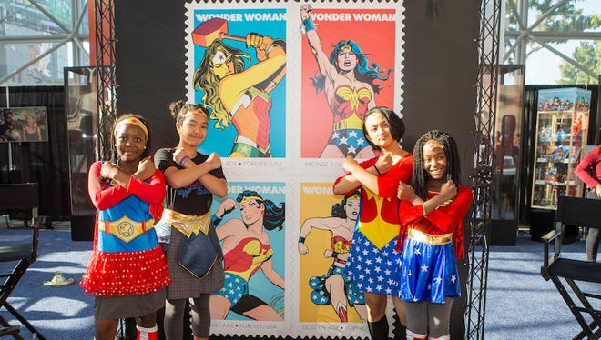 The U.S. Postal Service dedicated four Forever stamps today that commemorate the 75th anniversary of one of the most iconic Super Heroes of all time — Wonder Woman.
