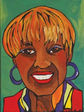 York artist Ophelia Chambliss'  portrait of Carol Hill-Evans is part of the artist's 'Contiguous' portrait project celebrating the diversity of the community.