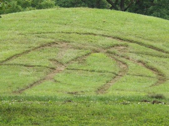 Damage to the 9-foot Adena Mound at Serpent Mound,