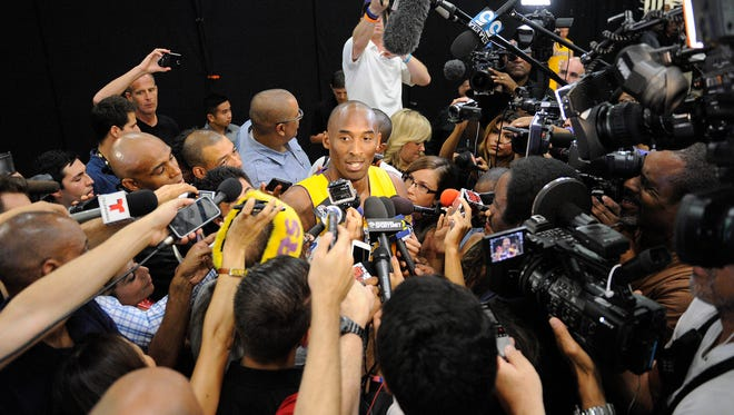 Los Angeles Lakers guard Kobe Bryant speaks to press during media day at Toyota Sports Center.