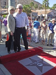 Helen and Hugh Kaptur during the unveiling of Hugh's star on the Palm Springs Walk of Stars.