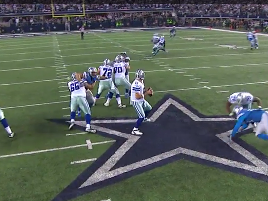 A freeze-frame from NFL Game Rewind of the hold on