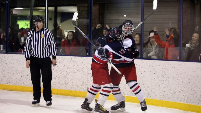 Stepinac's Mark Vitetta and Michael Miano celebrate a goal during game 1 of the CHSAA Hockey Championship series, Feb. 26, 2017.