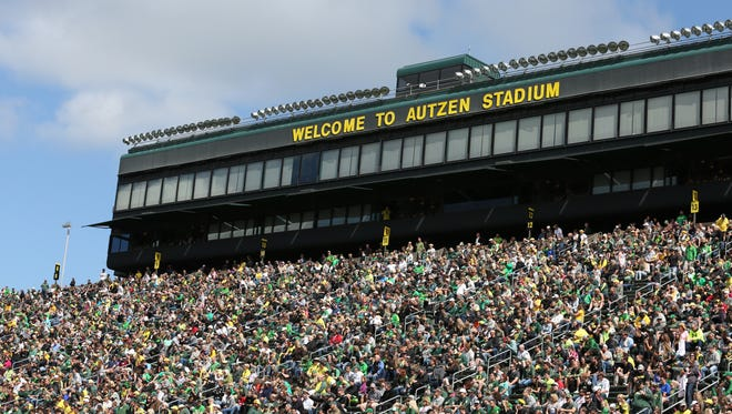 Fans cheer on Oregon during the Ducks spring game on Saturday, April 30, 2016, at Autzen Stadium in Eugene, Ore.