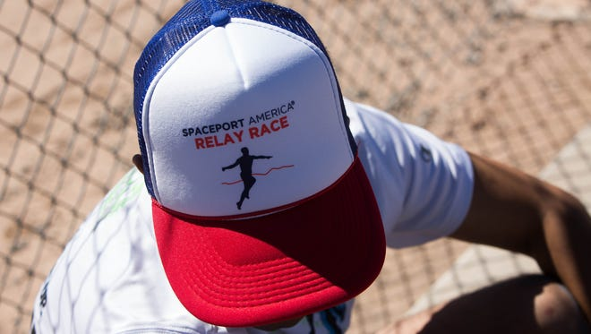 Richard Torres, of El Paso waits at the Spaceport America Relay Race checkpoint at North Valley elementary School as a runner from his relay team the  Milky Gueys Saturday, April 8, 2017.