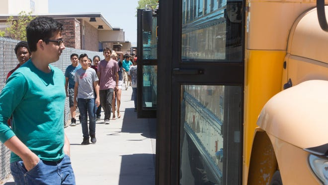 Students from Picacho Middle School, board school buses at the end of their school day, Friday May 26, 2017