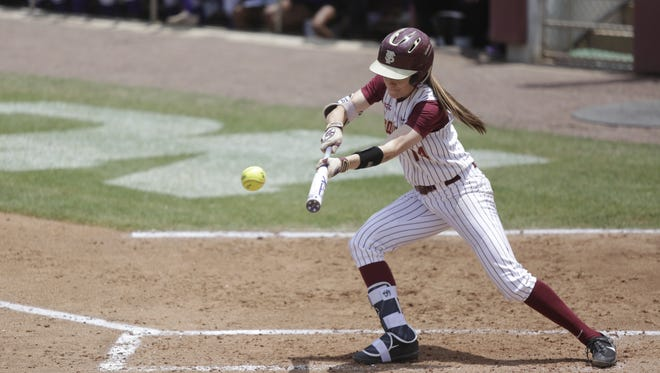 Florida State's Ellie Cooper at bat during the tiebreaker game of the Super Regional against LSU at JoAnne Graf Field Sunday, May 28.