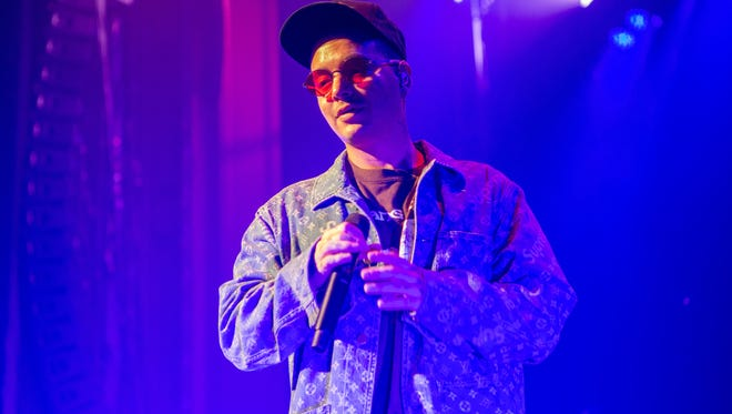 J. Balvin performs at the Riverside Theater Saturday.