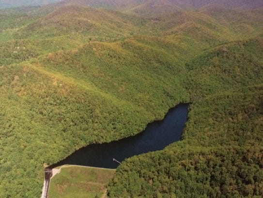 Bee Tree Reservoir in Swannanoa is the smaller of the