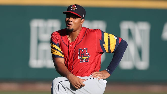 Mud Hens third baseman Jeimer Candelario warms up before action against the Columbus Clippers Friday, August 4, 2017, at Huntington Park in Columbus, Ohio.