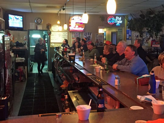 Patrons watch the Packers-Bears game at  The Chicago