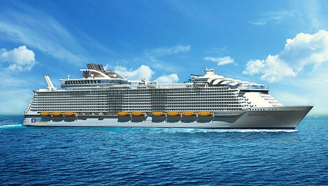An artist's drawing of Royal Caribbean's Harmony of the Seas, which is scheduled to debut in April 2016.