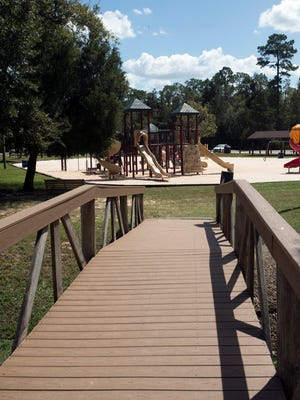 The city of Milton is soliciting public input on what the community wants for the future of Carpenter's Park. A bridge at the park is pictured on Tuesday, Oct. 3, 2017.