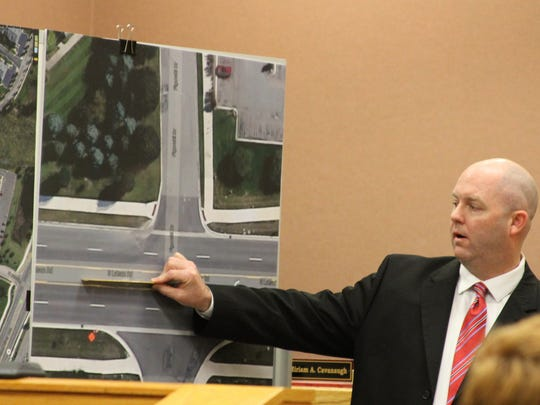 Michigan State Police Sgt. Allan Avery explains to a jury how a fatal crash occurred in 2014 at Latson Road and Figurski Drive in Genoa Township.