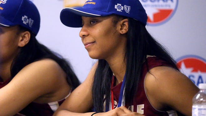 Riverdale's Anastasia Hayes in the press room after Riverdale won the Class AAA tournament on March 12, 2016, at MTSU.