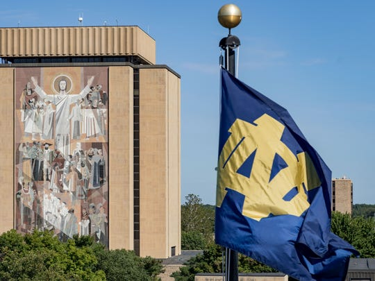 A general view of the Word of Life mural, commonly known as Touchdown Jesus before the game between the Notre Dame Fighting Irish and the Temple Owls at Notre Dame Stadium.