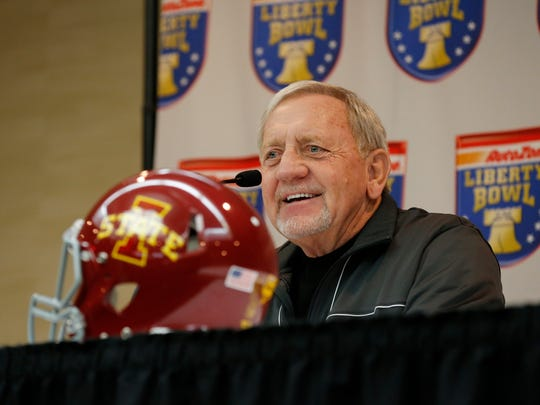 Former Iowa State defensive coach Wally Burnham talks with the media during a press conference in Memphis.