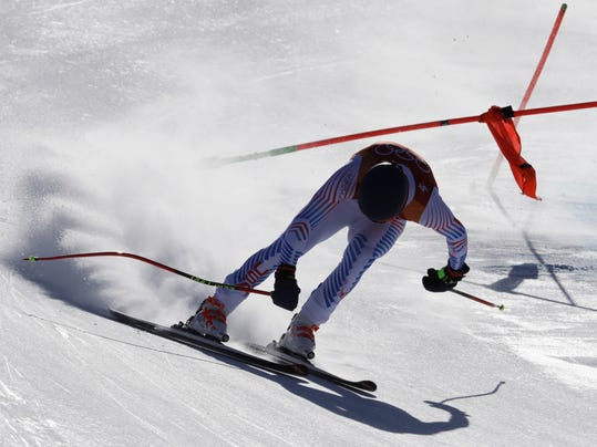 United States' Ryan Cochran-Siegle loses control just before crashing during the downhill portion of the men's combined at the 2018 Winter Olympics in Jeongseon, South Korea, Tuesday, Feb. 13, 2018. (AP Photo/Luca Bruno)