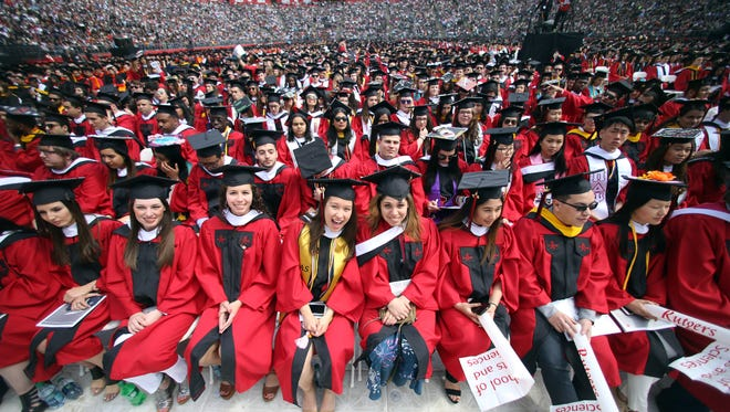 Rutgers University 251st Commencement held at High Point Solutions Stadium, Piscataway with original member of the E Street Band, Steven Van Zandt as Keynote speaker. May 14, 2017, Piscataway, NJ