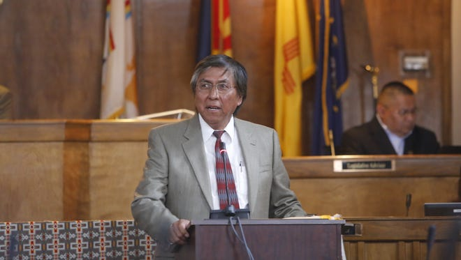 Navajo Nation Council Delegate Leonard Tsosie speaks during a presentation before the start of the spring session on April 18 in Window Rock, Ariz.