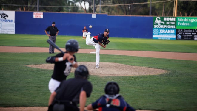 Strike Zone's Brendon Charley pitches against the Rivercats during the Connie Mack City Tourney on Tuesday at Ricketts Park.