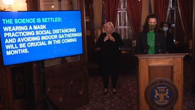 Screen image of Gov. Gretchen Whitmer press conference Dec. 10.