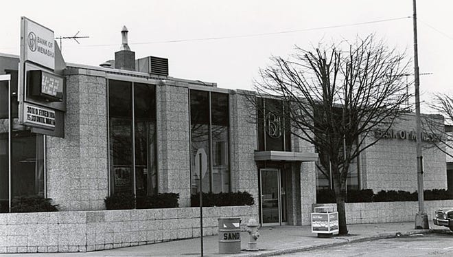 The Bank of Menasha is show in this 1982 photograph. Located at 150 Main St., Menasha, this building opened in 1963.