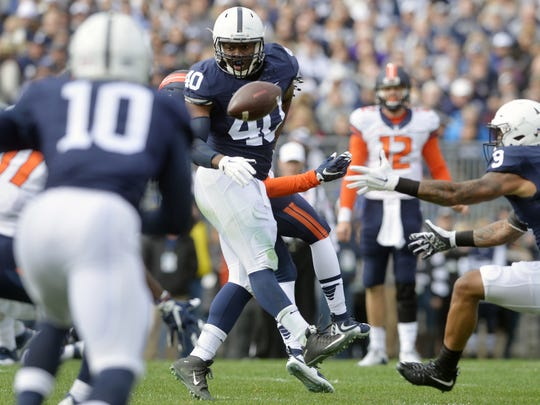 Junior linebacker Jason Cabinda (40) has been a glue to the Penn State defense for more than a year now. However, an undisclosed injury looks to knock him out of the key contest vs. Pitt and maybe longer.