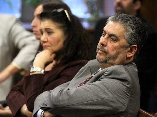 Anthony Romeo DiSantillo watches as his son Danny's trial begins before Superior Court Judge James Blaney at the Ocean County Courthouse in Toms River Tuesday, January 31, 2017.  Danny Romeo DiSantillo is charged with the murder, along with Hector Calderon, of Peyman Sanandaji at an empty restaurant in Jackson in 2015.