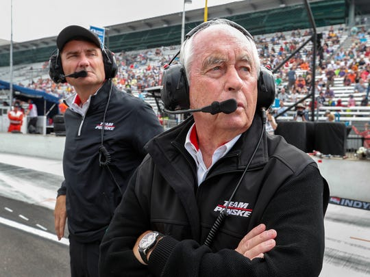 Team owner Roger Penske and Tim Cindric,left, on qualification day for the Indianapolis 500 at the Indianapolis Motor Speedway on Saturday, May 19, 2018.
