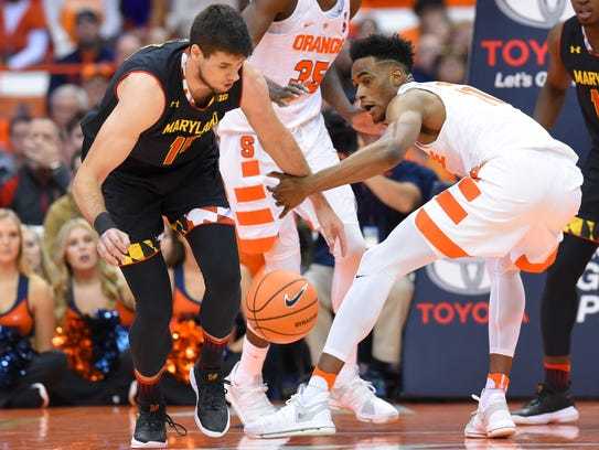Maryland Terrapins center Michal Cekovsky (15) and