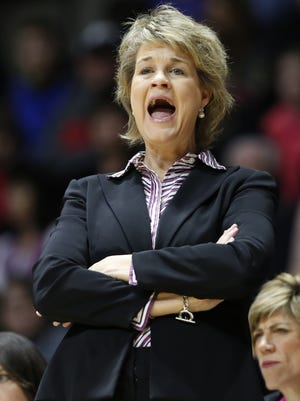 Iowa head coach Lisa Bluder shouts instructions to her players as they face Purdue Sunday, January 24, 2016, at Mackey Arena. Purdue defeated Iowa 90-73.